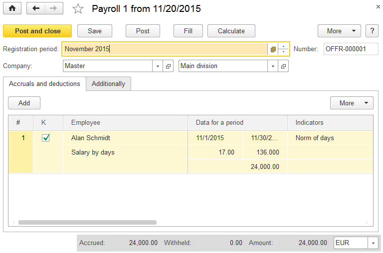 payroll accruals and deductions at the new 1c small busines