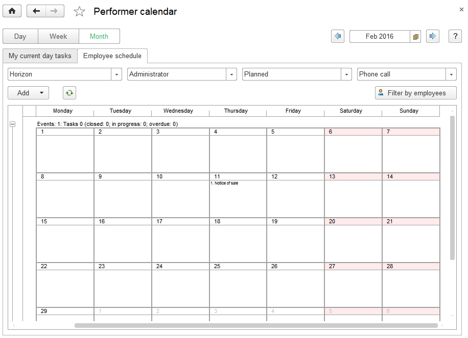performer calendar in new version 1c small business
